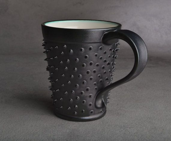 Spiky Mug: Made To Order Black and White Dangerously Spiky Mug by Symmetrical Pottery