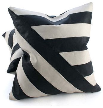 White Leather Throw Pillow : Black and White Leather Pillow, Diagonal Lines, 20x20 contemporary-pillows Home Pinterest ...