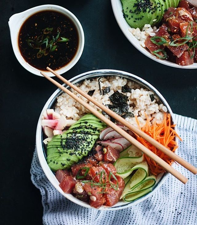Ahi tuna poke bowls up on my site today, otherwise know as the best bowl of food ever! (Link )