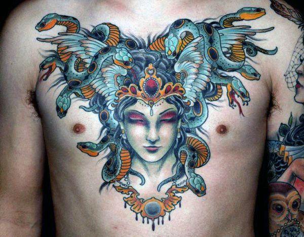 Anbei ein Beispiel eines Brusttattoos mit vielen Farben.    #Tattoo #Tattooentfernung #Tattooremoval #Farbe #Brusttattoo #Kosten