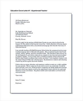 The  Best Teacher Cover Letter Example Ideas On