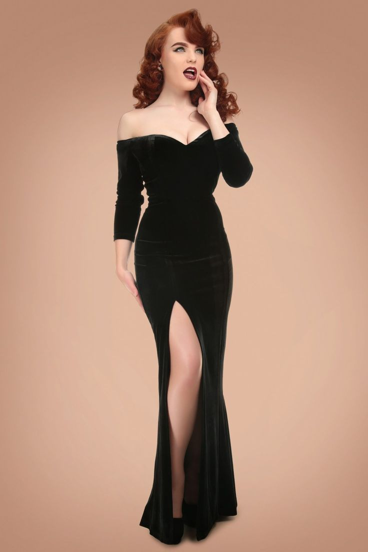 Oh la la... you'll be irresistible when wearing this 50s Anjelica Velvet Maxi Dress in Black! Feel just as sexy as Jessica Rabbit in this shop-stopper, oh la la! The deep dramatic sweetheart neckline, off-shoulder sleeves and black velvet add a sassy and mysterious touch while the high slit at the front a huge dosis sexappeal guarantees.... yesss this dress is not suited for wallflowers ;-) Made from a luxurious, super soft and stretchy fabric which enhances your curves without ...
