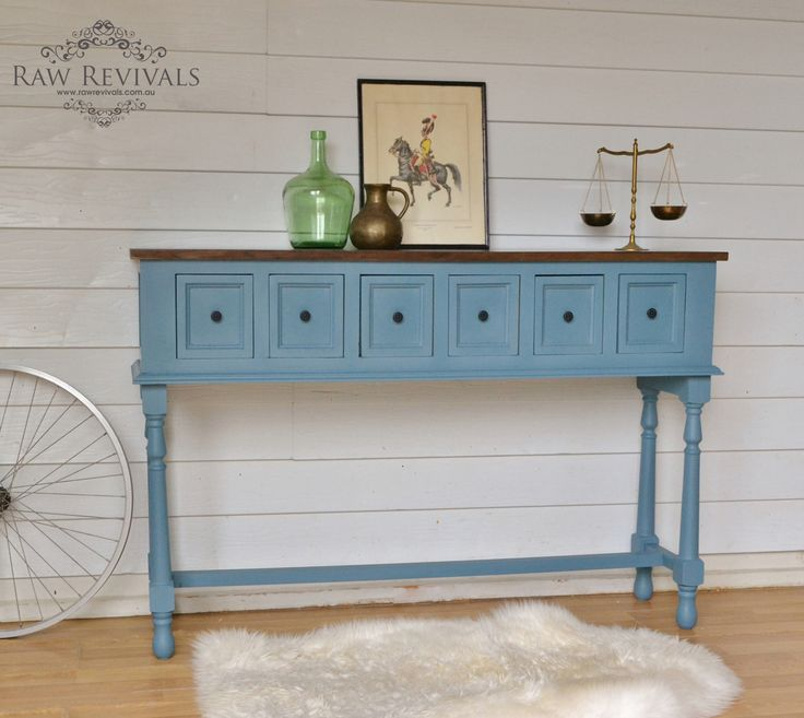 vintage style ocean blue console table with faux timber top.  www.rawrevivals.com