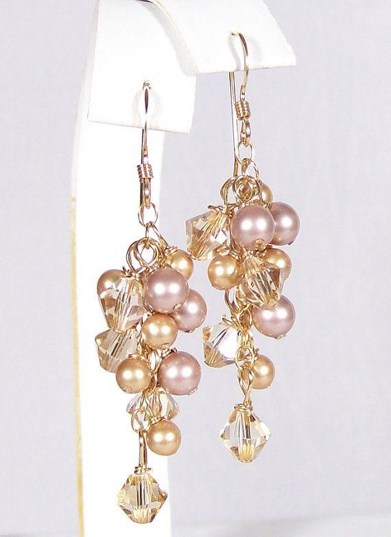 Champagne Gold Latte Cafe Brown Chandelier Earrings by bonitaj