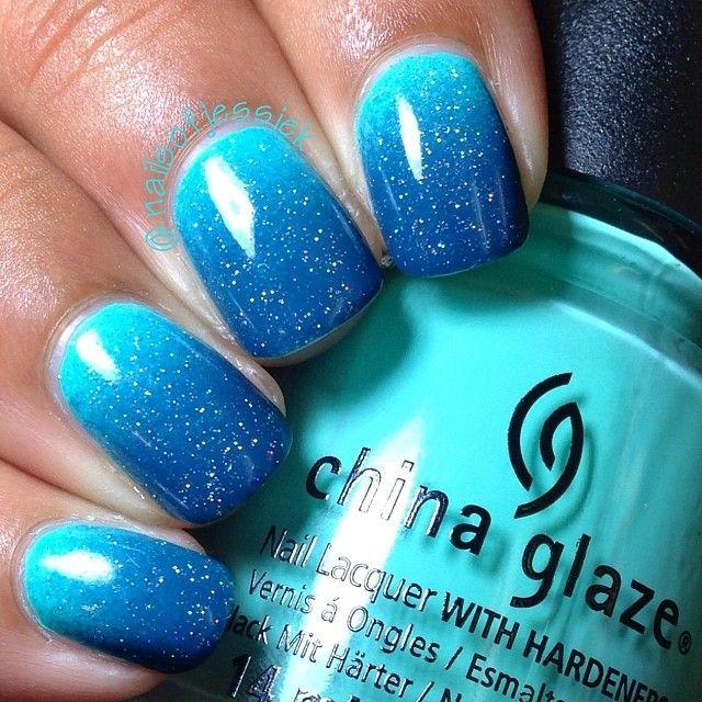 degrade azul com glitter