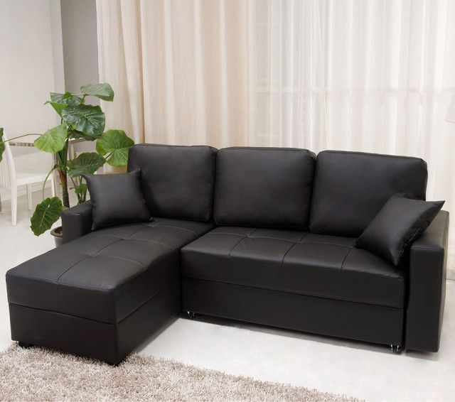 Go For A Simple Yet Elegant Modern Look In Your Living Room Or Den With The  Stylish Aspen Black Convertible Sectional Sofa Bed. Part 80