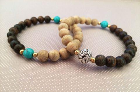 Agarwood and Turquoise Bracelet-The Yin-Yang Balance – Grandawood- Agarwood Australia