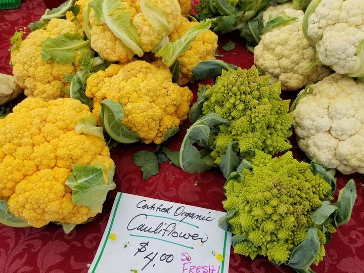 Organic cauliflower locally grown in London Ontario. So fresh and seasonal. Farm to table.