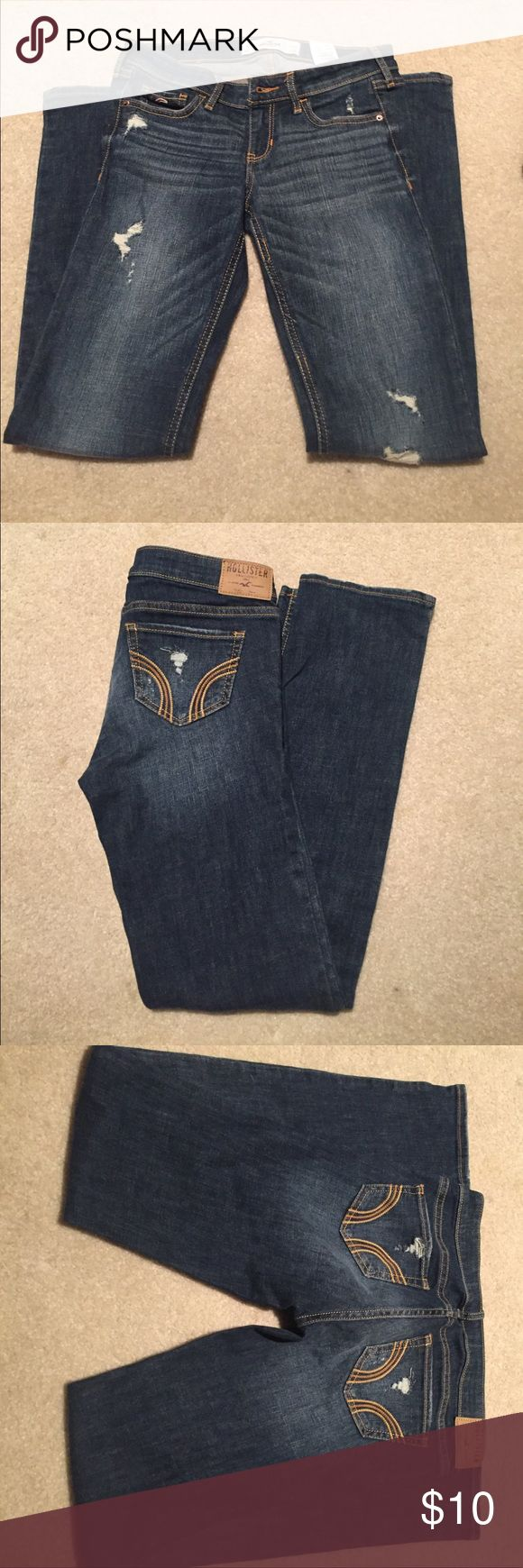 Hollister boot cut jeans Hollister boot cut jeans destroyed size 1 short in great condition Hollister Pants Boot Cut & Flare