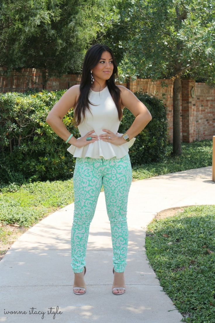 Old Navy Pants Primark Peplum Top Charlotte Russe Heels Old Navy Earrings