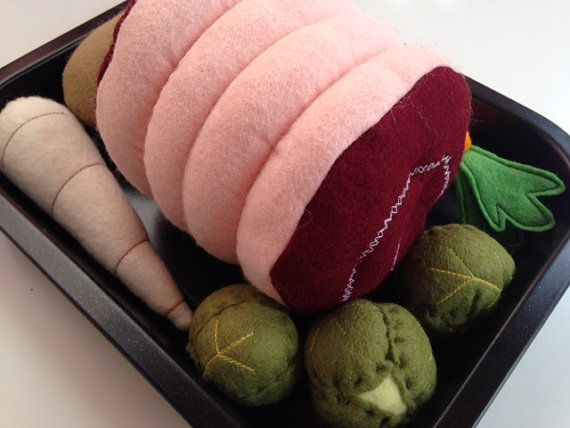 Pretend Play Felt Food Roast Dinner Set with by mummymadeitme: