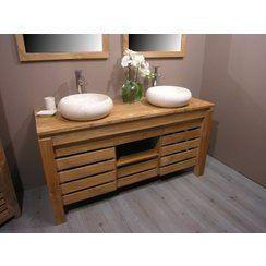 Magnifique meubles en teck avec deux vasques en pierre naturelle. Ambiance zen garantie! Retrouvez plus d'idée sur www.pierreetgalet.com