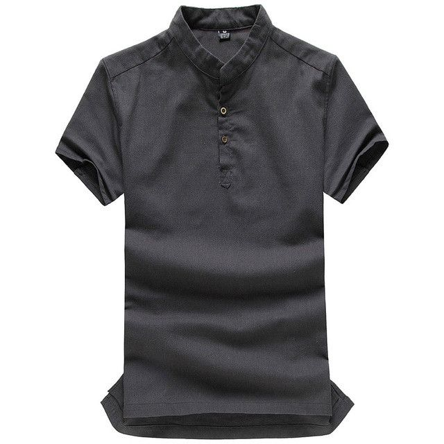 Asian fashion mens pullover shirt for summer long sleeve linen ...