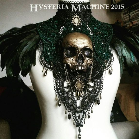Catacomb Couture Gold and Emerald Chest Piece by HysteriaMachine | Smoked Glass Goggles