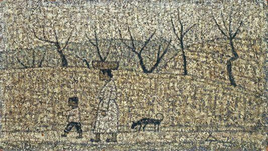 Park Soo-keun, The Way Home, 1965, Oil on Hardboard, 20.5x36.5cm, GALLERY HYUNDAI