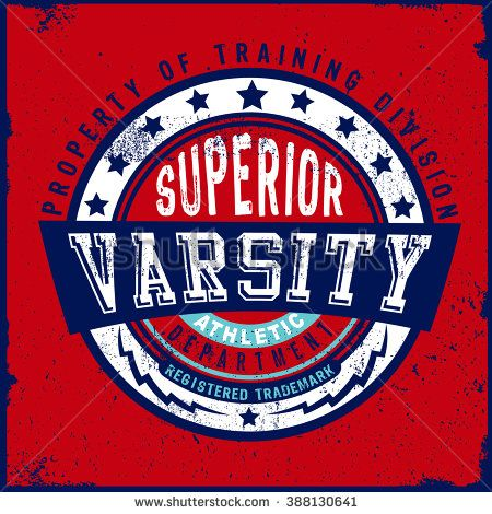Varsity typography design for apparel and T-Shirt. Print design idea for jersey fabrics.
