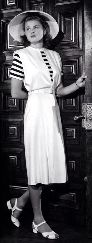Ingrid Bergman wearing a jumper dress designed by Orry-Kelly, 'Casablanca', 1942