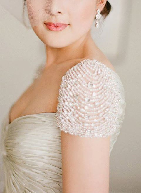 wedding dress shoulder detail