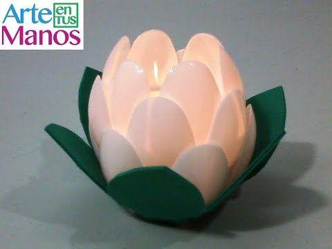 Farol porta velas Flor de Loto, paso a paso con material reciclado - YouTube