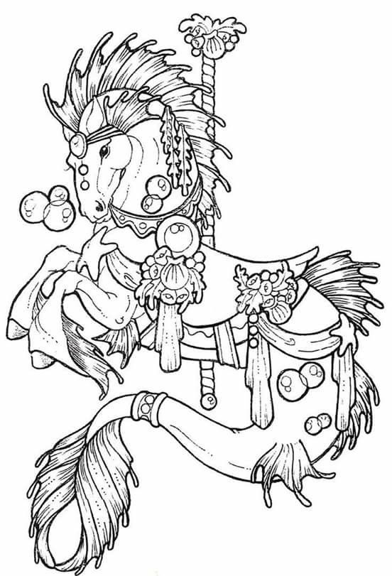 horse carousel colouring pages 234596 carousel horse coloring page - The Tattoo Coloring Book