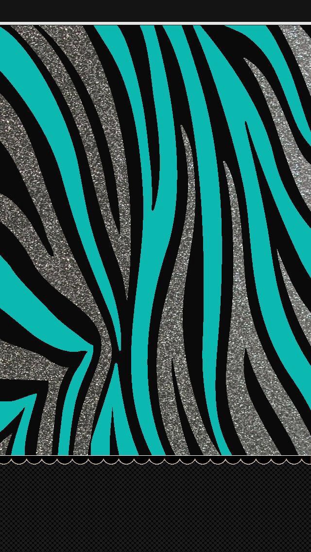 Teal and black zebra glitter great to like up with the - Pink zebra wallpaper for iphone ...