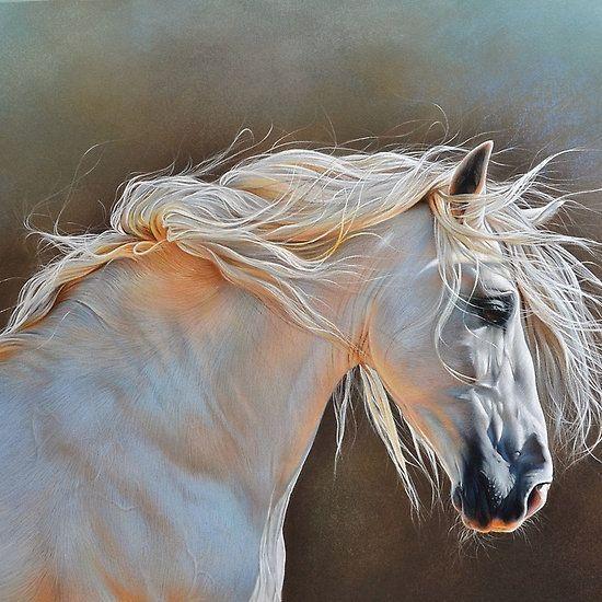 """""""Morning glow"""" #horse painting by Elena Kolotusha"""