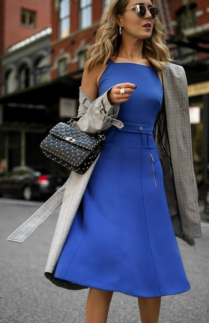 Cobalt Dress + Checked Trench // Cobalt blue belted dress, checked trench coat, leather shoulder bag, mirrored sunglasses {GREY Jason Wu, Zara, Valentino, Sam Edelman, fashion week}
