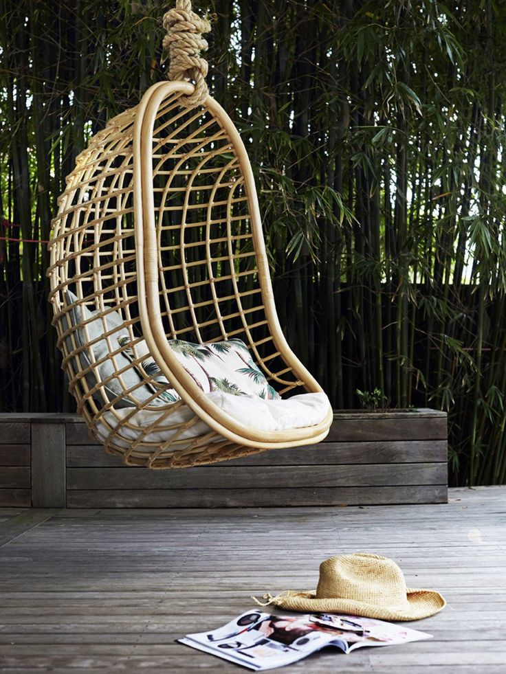 Coco Hanging Chair These Australian-designed hanging chairs ($499) may be modelled after classic 70s styles, but they're far from dated. Perfect strung both indoors and outdoors, the Coco by Byron Bay Designs makes for a picturesque reading nook or relaxation station, and comes in white, black or natural rattan to suit any abode's aesthetic.