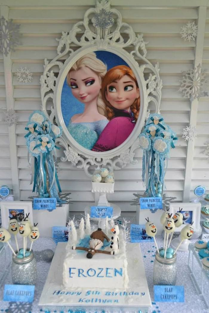 Frozen Princess themed birthday party Full of Really Cute Ideas via Kara's Party Ideas! full of decorating ideas, desserts. Love the mirror!