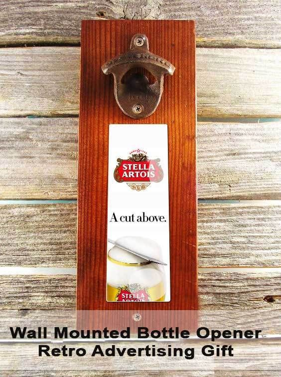 Wall Mounted Bottle Opener/ Man Cave, with Hidden Magnet Retro Advertising #StellaArtois
