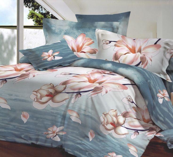 Biely kvet posteľné obliečky modrej fraby