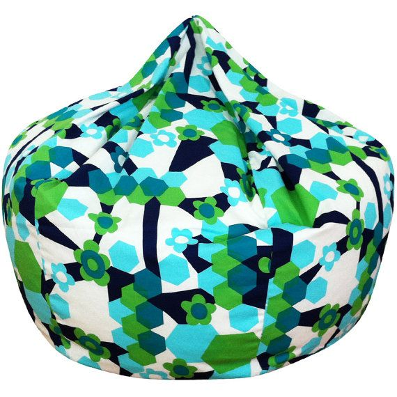Flower Hexagon Blue Green Bean Bag Chair By ChoosyShop On Etsy