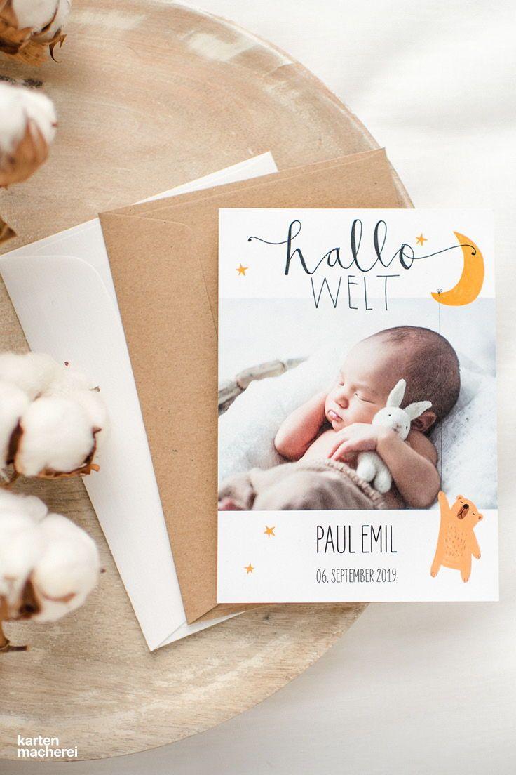 Wie ein Schlaflied: Unsere supersüße Geburtskarte mit Mond, Teddy und Stern …   – Geburtskarten | Papeterie