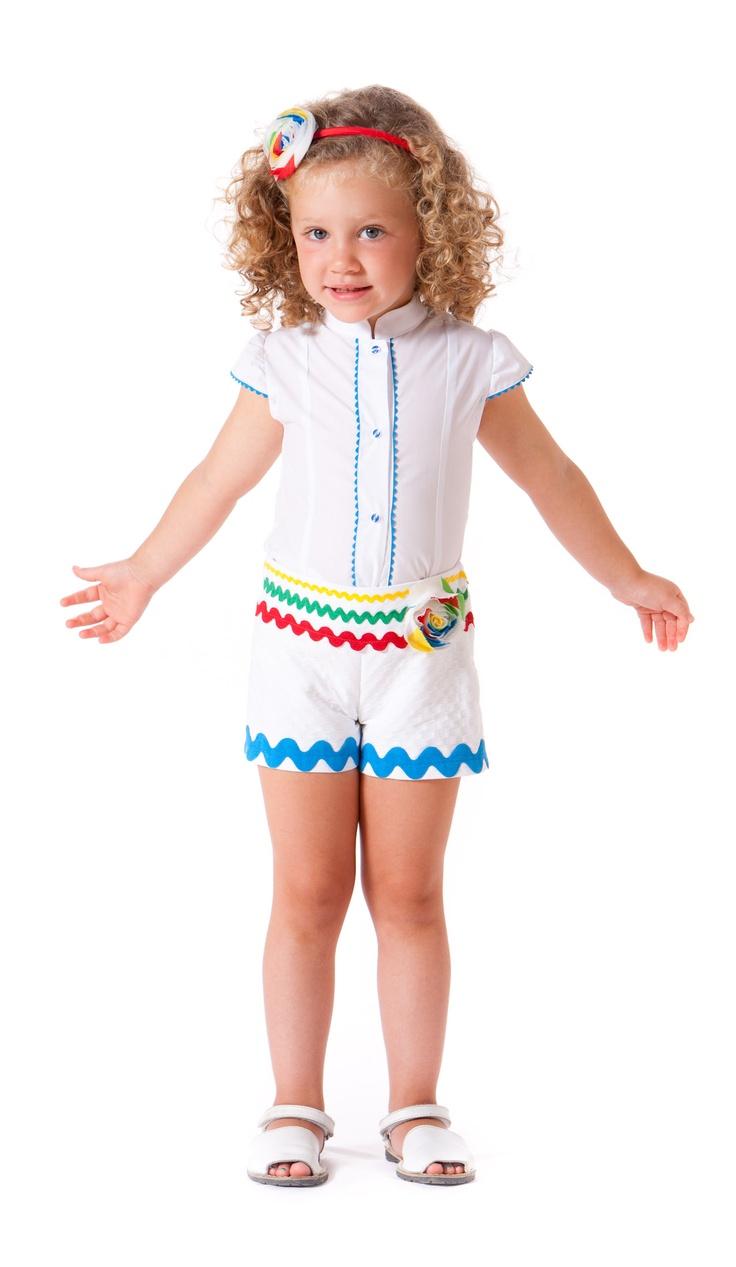 Conjunto de short y camisa para niña. Disponible en paraisobebe.com ropa, bebé, verano, primavera, infantil, niña, moda