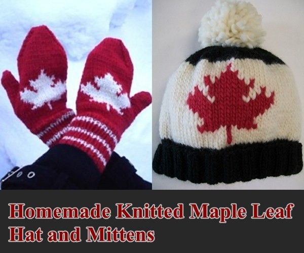Free Patterns for making homemade knitted maple leaf hat and mittens. Whether you like the pattern of the maple leaf or you are Canadian