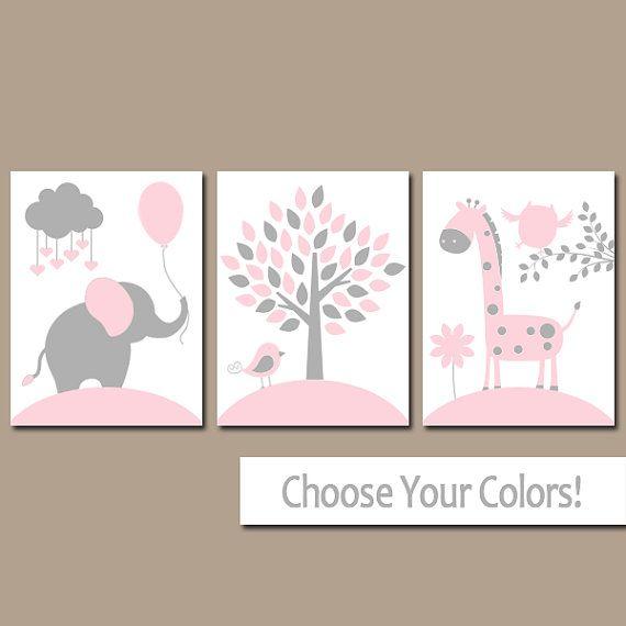 PINK GRAY Nursery Wall Art, CANVAS or Prints, Baby Girl Nursery Decor, Elephant Giraffe Tree, Jungle Safari Animals, Set of 3 Crib Artwork