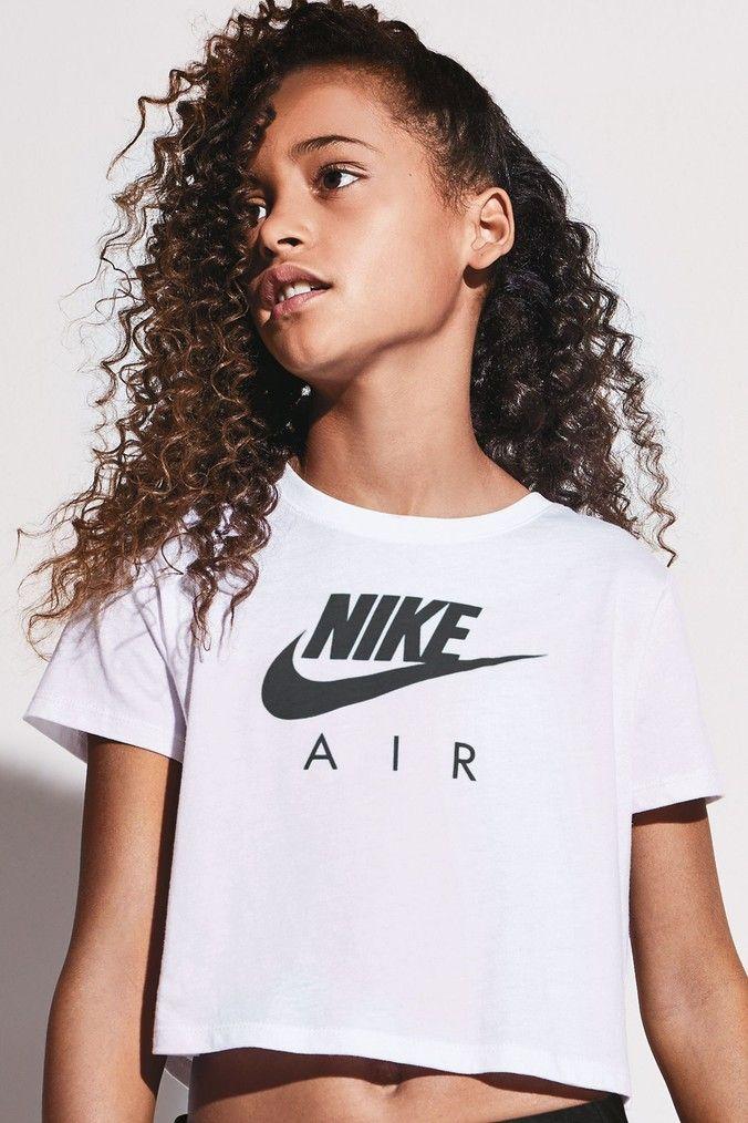 Girls Nike Air White Crop Tee - White