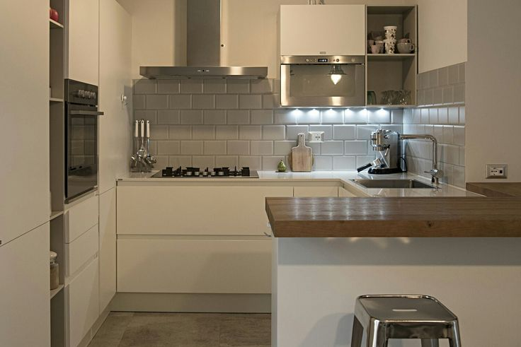 My home. Kitchen. Scavolini. Foodshelf. Wood Steel and White.