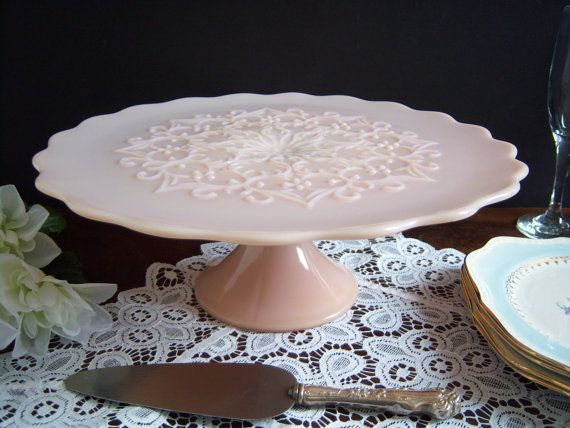 "Beautiful Rare Pink Fenton ""Spanish Lace"" Milk Glass Cake Stand - Wedding Table on Etsy, $270.00"