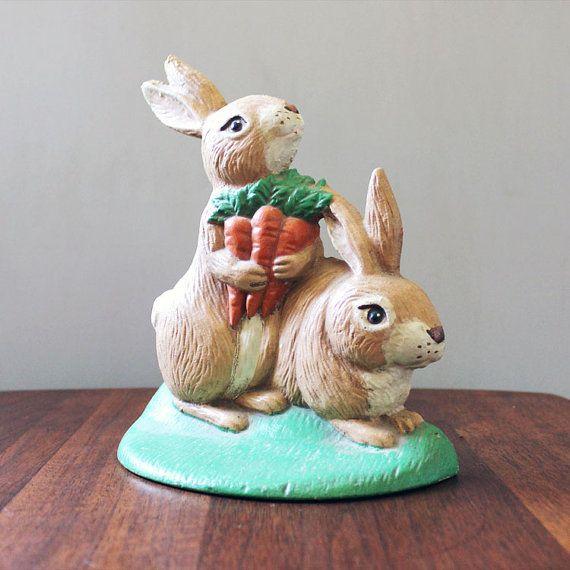 Spring bunnies. Vintage cast iron door stop. by Kultur on Etsy