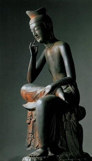 National treasure of Japan. Miroku Bosatsu statue at Koryu-ji Temple, Kyoto, Japan