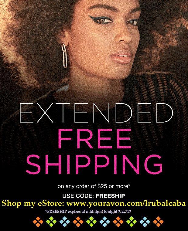 Did you miss Avon's FREE Shipping offer yesterday? Well, it has been EXTENDED! Get FREE Shipping TODAY-SATURDAY, with your online order of $25 or more.  #AvonFreeShipping #FreeShipping #Shopping #Avon #AvonRep   *******¿Olvidaste la oferta del GRATIS Envío de Avon ayer? ¡Bien, ha sido EXTENDIDO! Consiga el Envío GRATIS HOY-SÁBADO, con su orden en línea de $25 o más.  ¿Está interesado en vender Avon? Vaya a: www.startavon.com y use Ref.Code: LRUBALCABA