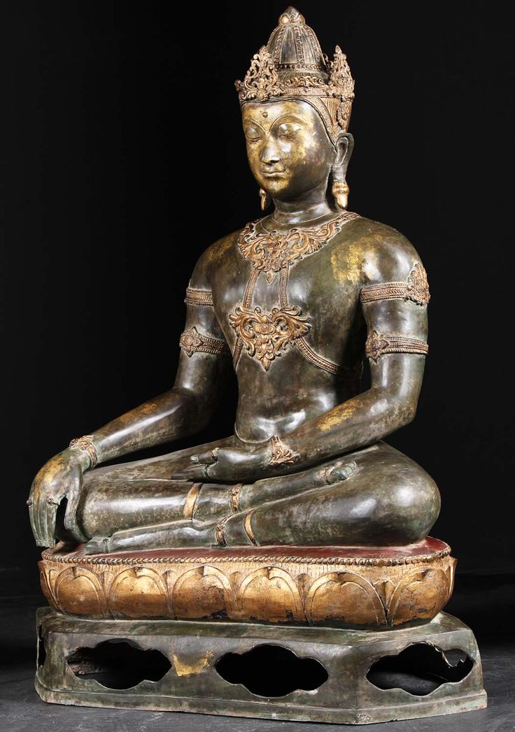 Brass Royal Earth Touching Thai Buddha 47""