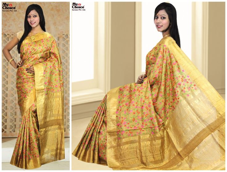Tussur Embroidery Saree