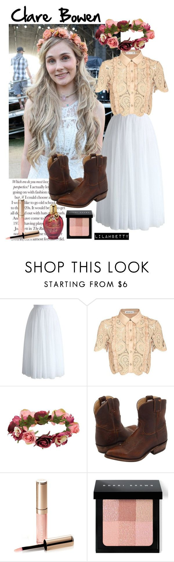 """""""Clare Bowen."""" by lilahbetty on Polyvore featuring Chicwish, self-portrait, Forever 21, Frye, By Terry, Bobbi Brown Cosmetics and country"""
