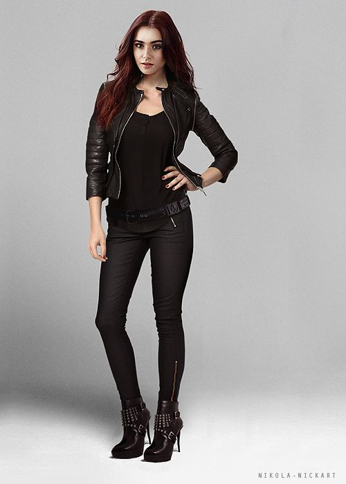 Lily collins- playing Clary Fray in City Of Bones, the movie. What she looks like in shadowhunter gear