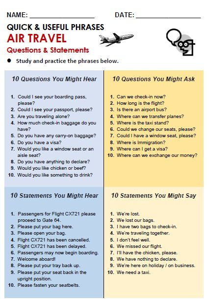Helpful phrases and questions you might hear at the airport. Bon voyage!