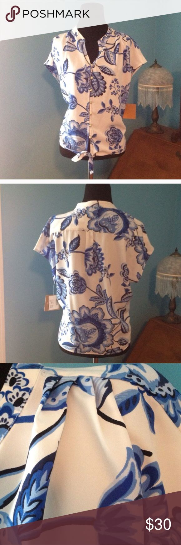 NWT Ellen Tracy Lapis Top Pretty NWT Ellen Tracy Lapis Top with knotted front. Beautiful! No trades Ellen Tracy Tops