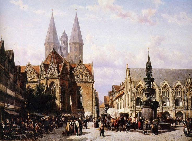 Altstadtmarkt in Brunswijk by Cornelis Springer
