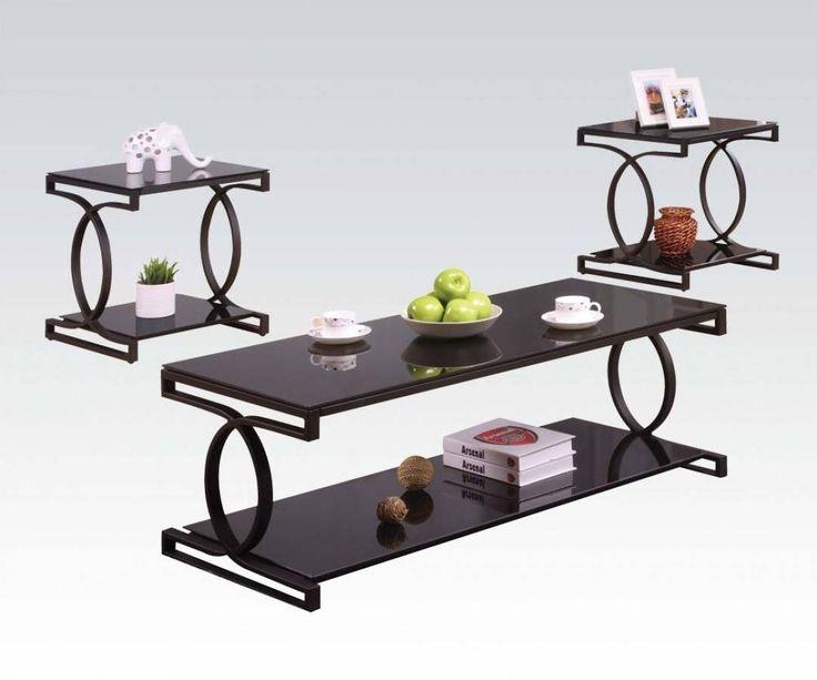 Milo Black Metal Glass 3pc Pack Coffee Table Set
